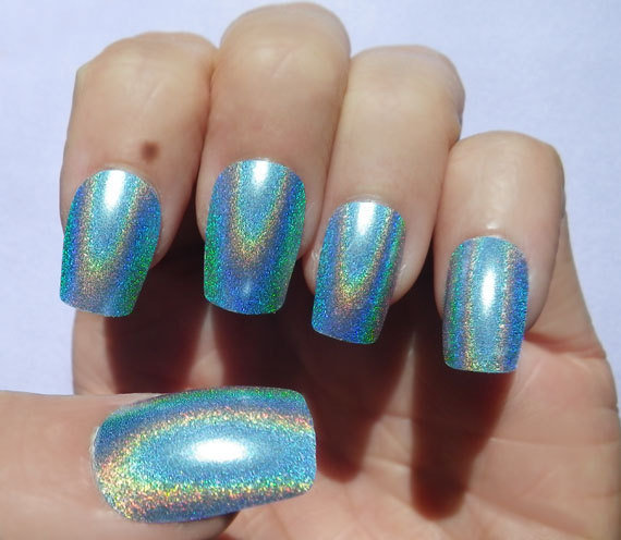 Nail Art Holographic Blue Color Shift