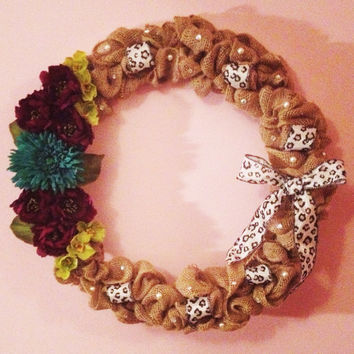 Burlap Wreath with Bold Flowers & Leopard Ribbon
