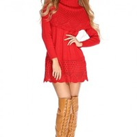 Red Knitted Design Cowl Neck Sweater Dress