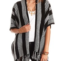 Mixed Stripe Fringe Cardigan Sweater by Charlotte Russe