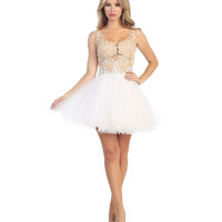 Champagne & White Lace & Tulle Illusion Short Dress Prom 2015