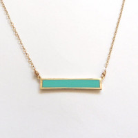 Gold BarTurquoise Inlay Necklace Gold Bar necklace Turquoise Necklace Layered Necklace Layering Necklace Gold Necklace