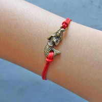 Bangle ropes bracelet mermaid wrist bracelet women bracelet girls bracelet made of red ropes and bronze mermaid Bracelet cuff  SH-1112