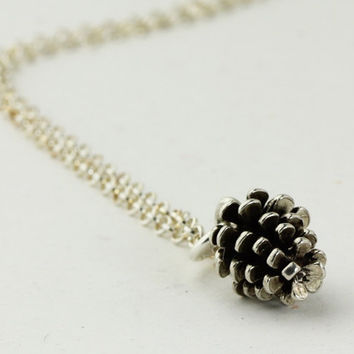 Silver Pine Cone necklace - custom personalized hand stamped sterling silver necklace