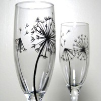 Painted Champagne Flutes Dandelion Collection Set by PrettyMyDrink