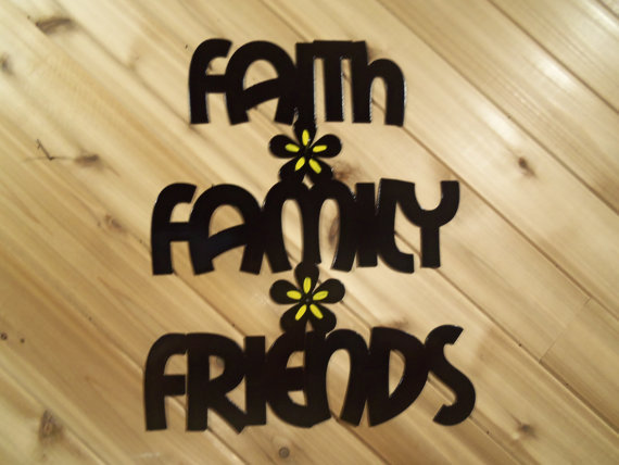 Wall Words Wall Art Metal Faith Family Friends By PrecisionCut