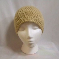 Crochet Classic Beanie Cream - Handmade Crochet Unisex Hat Crochet Beanie Crochet Skully Men Women Teen Winter Fall Gift