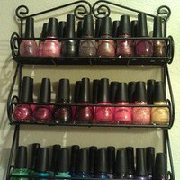 Spectrum Wall-Mountable Scroll Spice Nail Polish Jar Knick Knack Rack