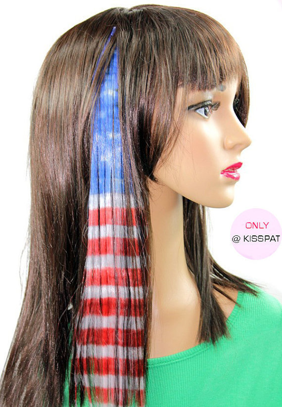 2 Clip in American Flag Hair Extensions-Miss American Clip In Synthetic Hair Extension, with Blue Red Striped Color in One Clip