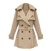 ZLYC Women Lady Fashion Double Breasted Floral Lace Lining Classic Trench Coat