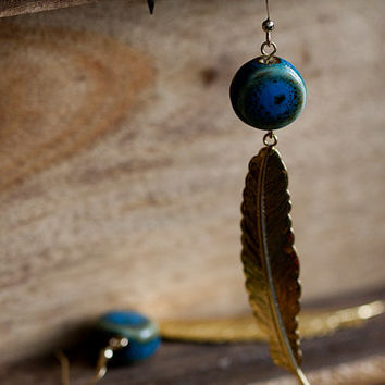 Blue Bead Feather Earrings Boho Peacock Ceramic Beads Long Feather Dangle Bohemian Earrings - E256