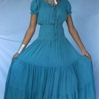 LIGHT BLUE DRESS PEASANT FITS - M L XL 1X 2X - U305