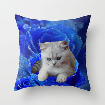 Cat and Blue Rose Throw Pillow by Erika Kaisersot