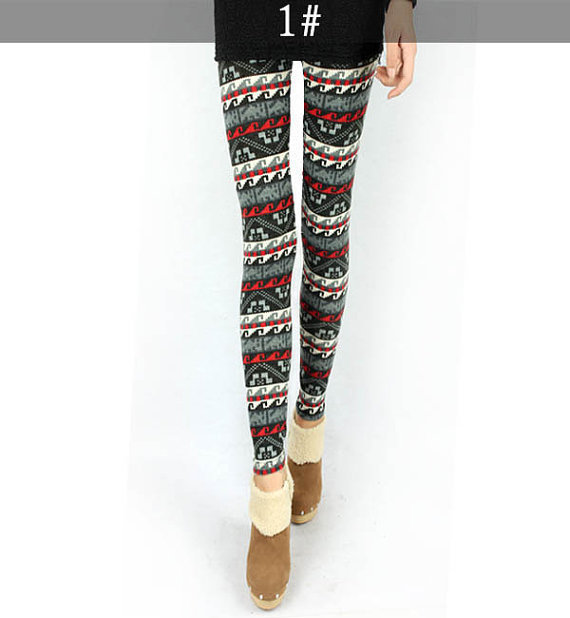 women's colorful prints Polka Dot deer Leggings/ 5 colors