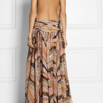 Emilio Pucci - Backless printed silk-blend gown