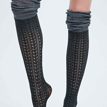 Over The Knee Scrunch Socks in Black and Grey - Urban Outfitters