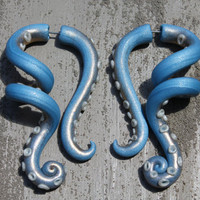 Octopus Tentacles Gauge or Fake Gauge Earrings