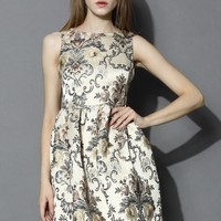 My Fair Lady Baroque Embroidery Dress in Champagne Beige