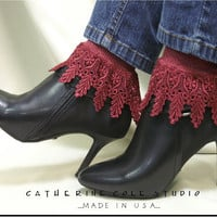 My Signature Lace Sock / SLC2 / womens burgundy Catherine Cole Studio MADE IN USA  victorian lace boot socks