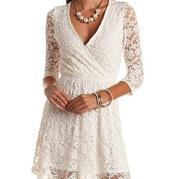 EMBROIDERED BACK SURPLICE LACE DRESS