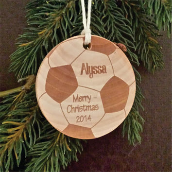 Round Wooden Christmas Ornament, Sports Themed, Engraved, and Personalized as a Soccer Ball