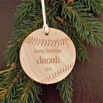 Round Wooden Christmas Ornament, Sports Themed, Engraved, and Personalized as a Baseball