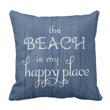 Beach Happy Place Blue Wood Pillow