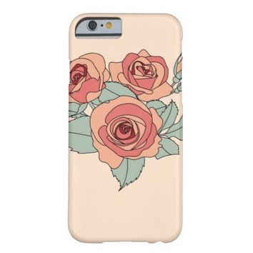 Girly Hand Drawn Pastel Rose Flower iPhone 6 Case