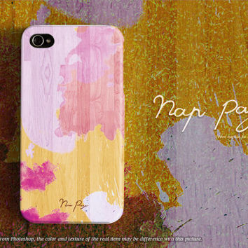 Apple iphone case for iphone iphone 5 iphone 5s iphone 5c iphone 4 iphone 4s iPhone 3Gs: pink watercolor on wood (not real wood)