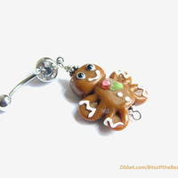 Gingerbread Man Navel Ring - Holiday Christmas Jewelry, Belly Button Ring