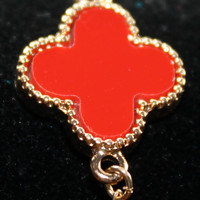 Dainty Coral Red Orange Clover Quatrefoil Gold Accent Extendable Bracelet