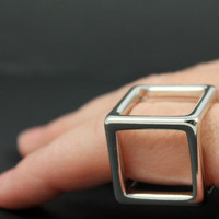 Silver Hollow 3D Cube Box Geometric Box Square Cage Punk Knuckle Steampunk Finger Armor Machined Look Industrial Ring