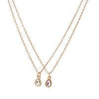 FOREVER 21 Layered Teardrop Pendant Necklace Peach/Clear One