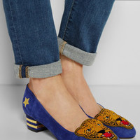 Charlotte Olympia Mascot appliquéd suede pumps – 55% at THE OUTNET.COM