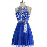 VILAVI A-line Short Tulle Crystal Semi Transparent Prom Dresses