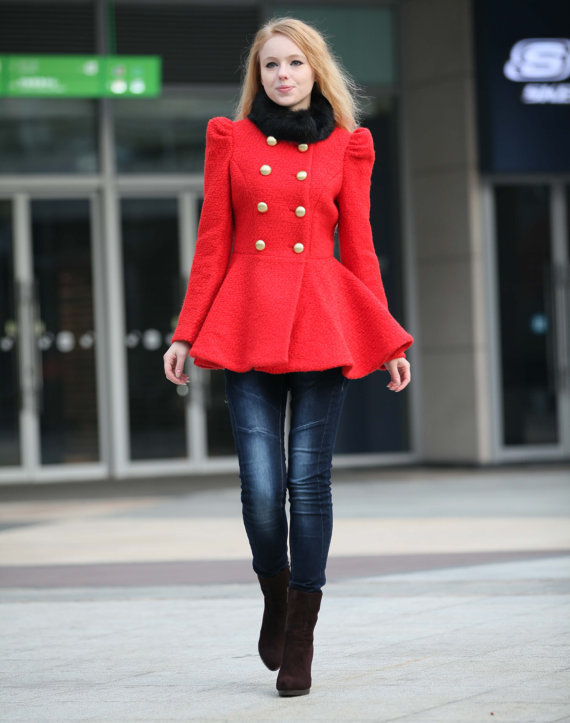 Removable Fur Collar Wool Coat in Red For Women - NC244