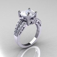 Modern Vintage 10K White Gold 3.0 Carat Heart White Sapphire Solitaire Ring R134-10KWGWS