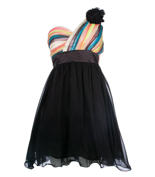 Multi Stripe Floral Corsage Chiffon Dress - Clothing - desireclothing.co.uk