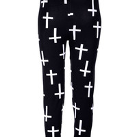 WHITE OR BLACK cross leggings