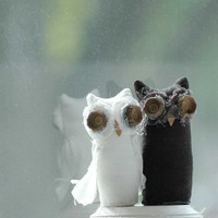 Wedding Cake Topper Woodland Owls by lorinichols on Etsy