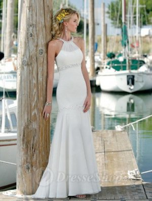 Trumpet/Mermaid Halter Sequins Chiffon Court Train Wedding Dress at Dresseshop