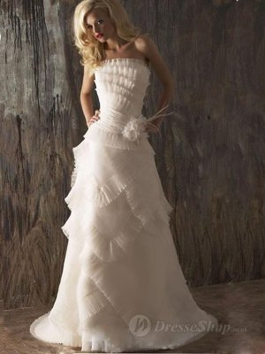 Sheath/Column Strapless Ruffles Organza Sweep Train Wedding Dress at Dresseshop