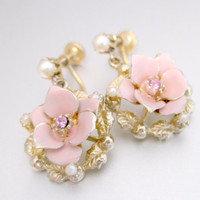 Vintage Cute Little Earrings Pink Enamel Rose Drop Earrings w/ Pink Rhinestone & Creamy Faux Pearls