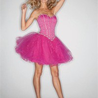 Short Sweetheart Ball Gown Beaded Tulle Prom Dress PD1929