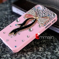 Pink  iPhone case iPhone 4 case iPhone 4s case,  varabow diamond iphone 4 case ,bling iphone 4 case,HTC case
