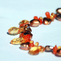 Citrine, Carnelian and Flake Pearls Necklace