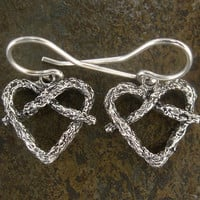 Little Gnarly Vine Heart Earrings - Sterling Silver - Lightweight