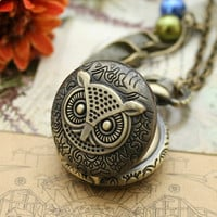 Antique owl pocket watch necklace bronze pendant with flower charm and glass pearl charm