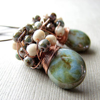 Cluster Earrings, Green Glass Bead Earrings, Handmade Wire Wrapped Copper Earrings