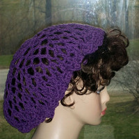 Hand Crochet Snood Renaissance and Civil War Purple